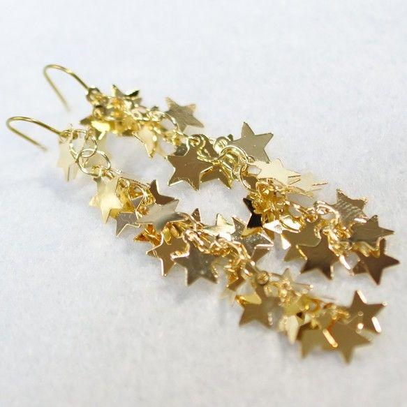 ゴールドチタンピアス・星くずライン2