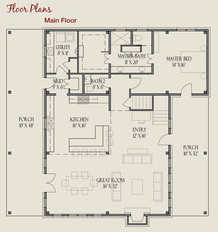 Timber Frame Farmhouse Floor Plan Love This Layout But Wouldnt Want The