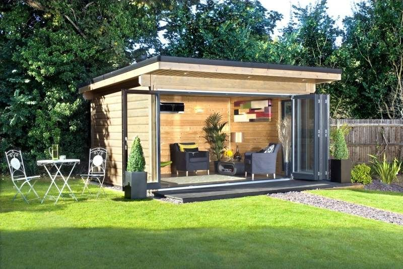 Blockbohlenhaus im garten modern und funktional ideen - Gartenpavillon modern ...