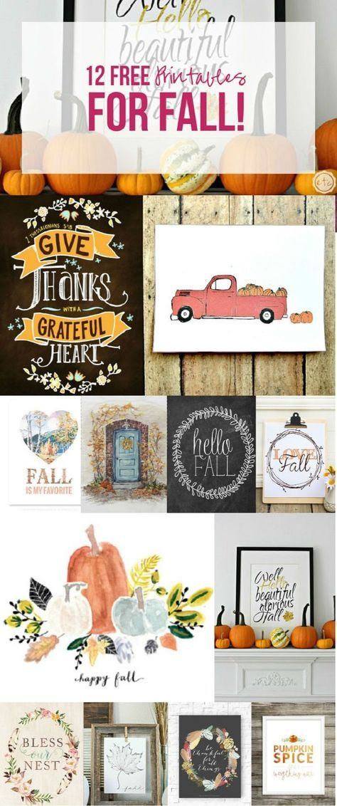 12 FREE Printables for Fall! is part of Free fall printables, Fall printables, Diy fall, Fall decor, Fall crafts, Fall thanksgiving - This past weekend I spent a few days in Colorado on a spontaneous trip… for my Dad's birthday! It was nice to spend time with family and even better to surprise him, he had absolutely no idea I was coming  Unfortunately the weekend came to a close all to quickly… and even though I am …