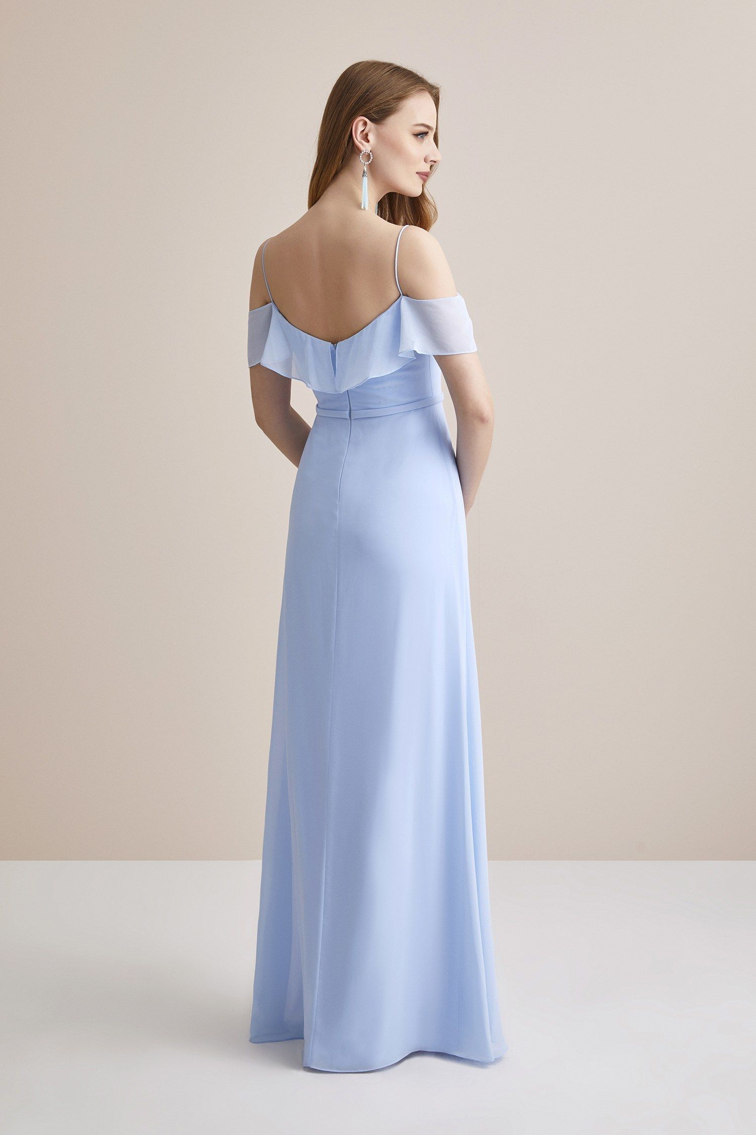 Buz Mavisi Ince Askili Sifon Uzun Abiye Elbise Oleg Cassini Uzun Elbise Elbise The Dress