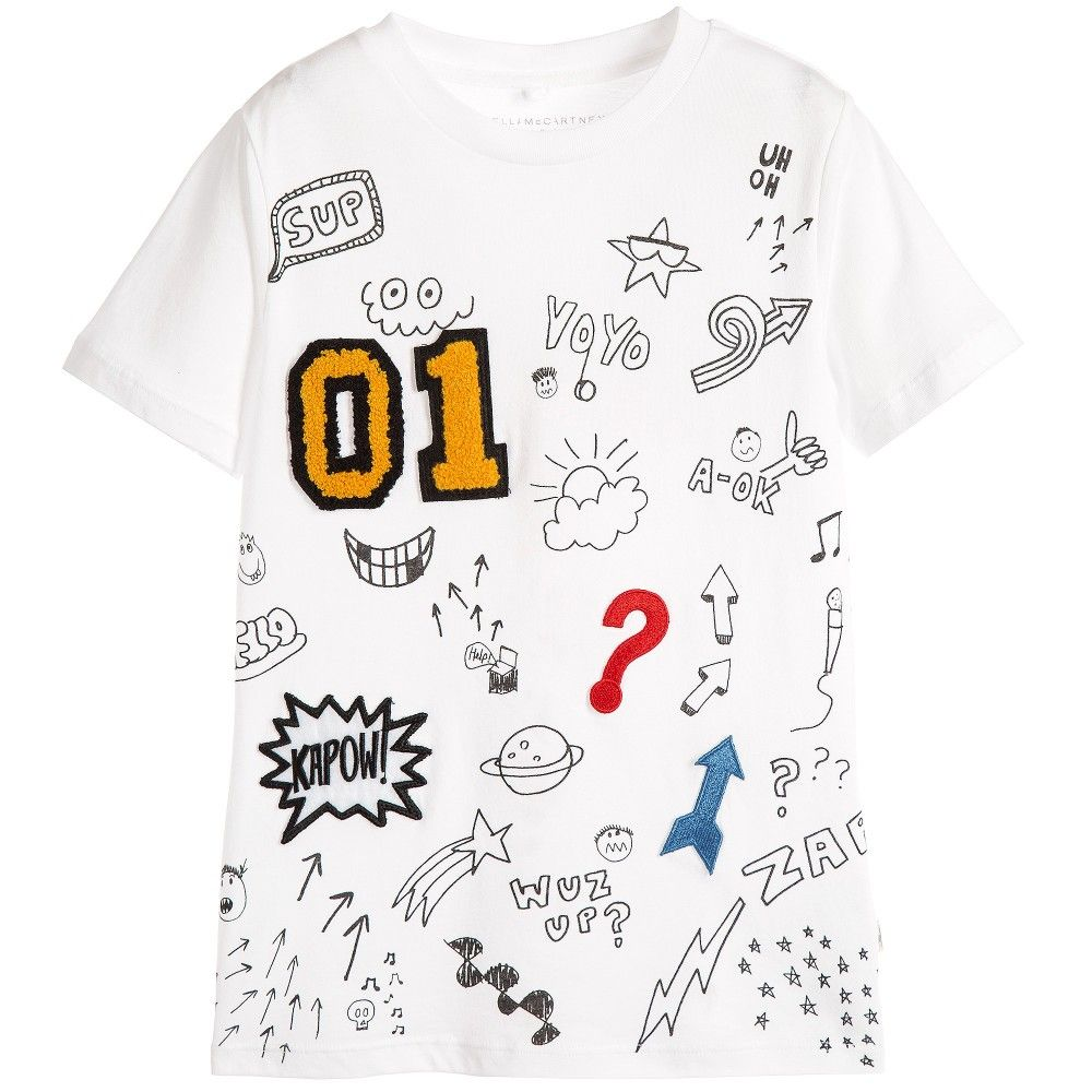 1a0b5640 Stella McCartney Kids White & Black Doodle Print 'Arlo' T-Shirt at  Childrensalon.com