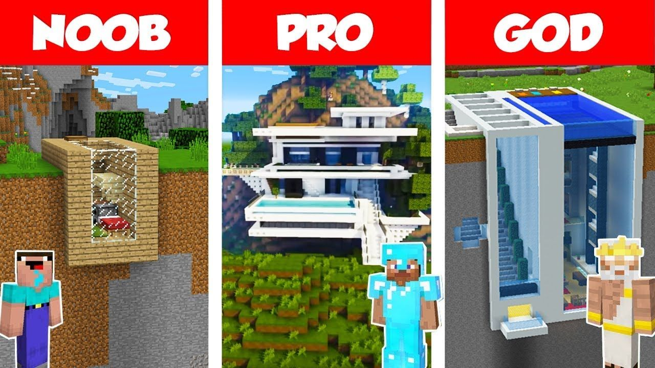 Minecraft Noob Vs Pro Vs God Modern Mountain House Build