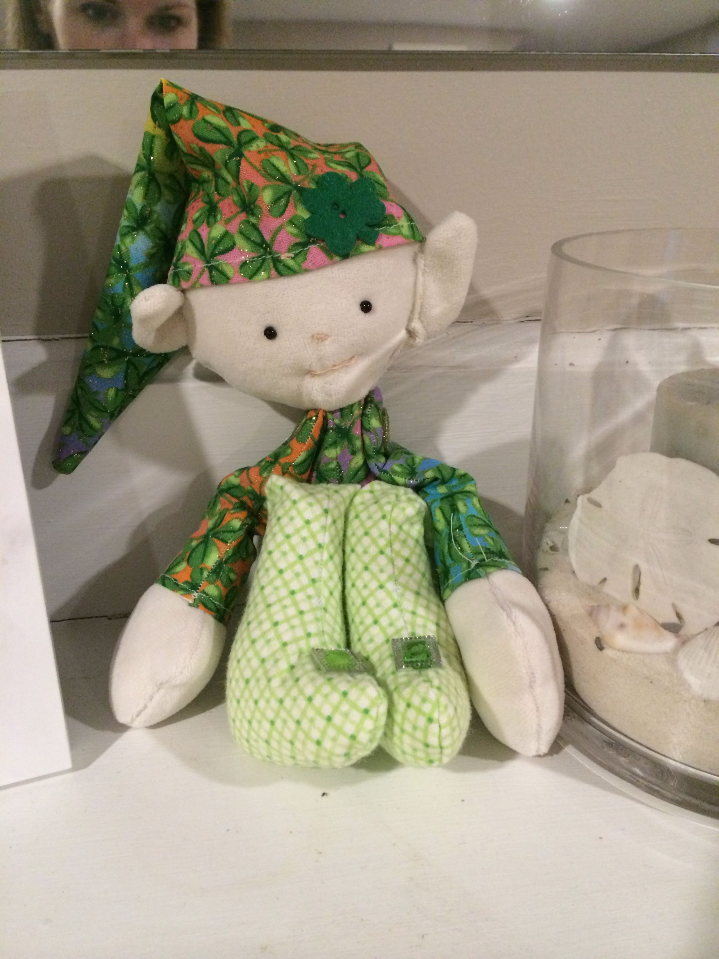 Cute little leprechaun that I made! Adapted a pattern for a little elf that I had.