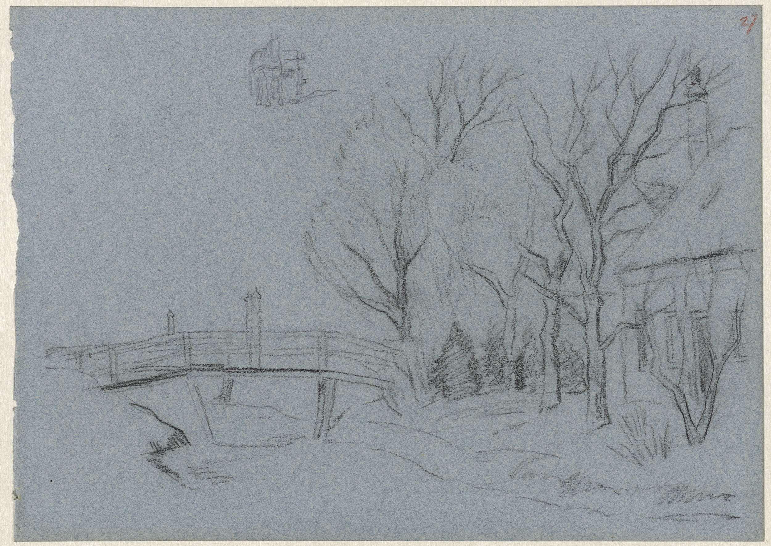 Jozef Israëls | Bruggetje en bomen bij een huis, Jozef Israëls, 1834 - 1911 |