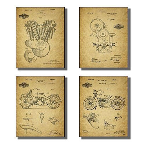 Harley Davidson Patent Wall Art Prints - Set of Four Prints | Wall ...