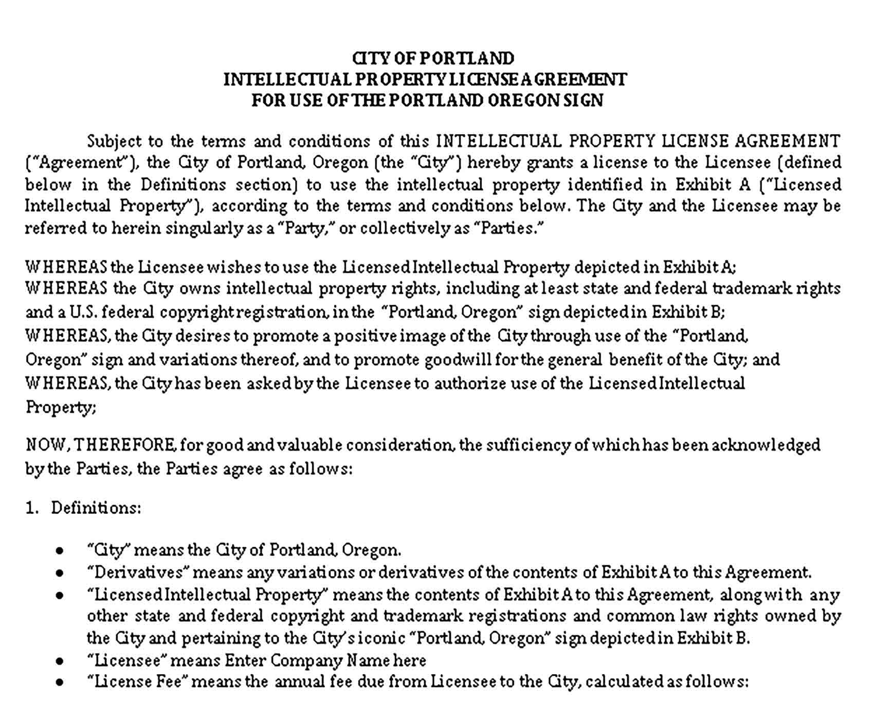 Intellectual Property Agreement Template Sample Agreement Intellectual Property Intellectual property license agreement template