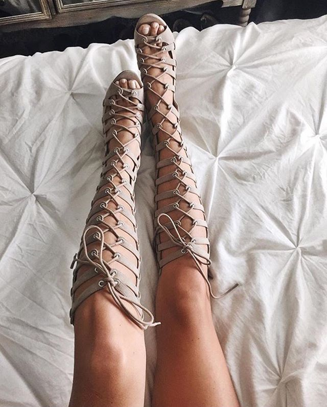 @kendallandkylie:  our lace up high heel gladiator sandals