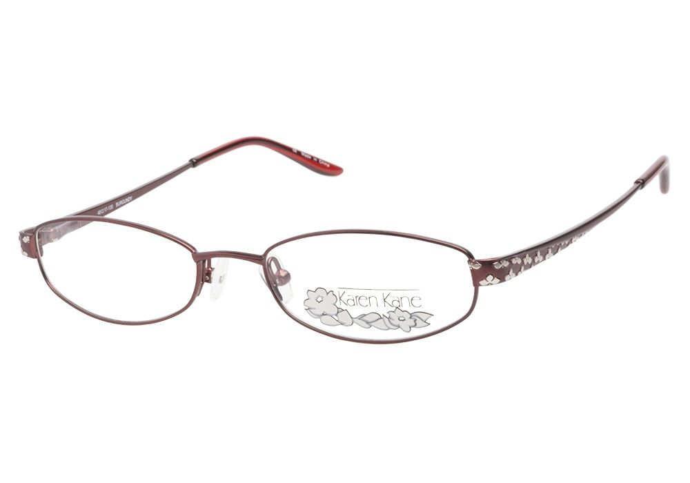 8bbea1978eb4 This full metal frame has a rich burgundy finish and oval shaped lenses.  The temples are dotted with a silver leafy detail and ...