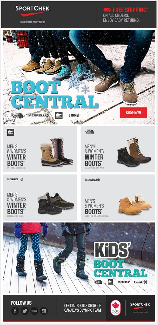 Sport Chek Email Design   Winter boots