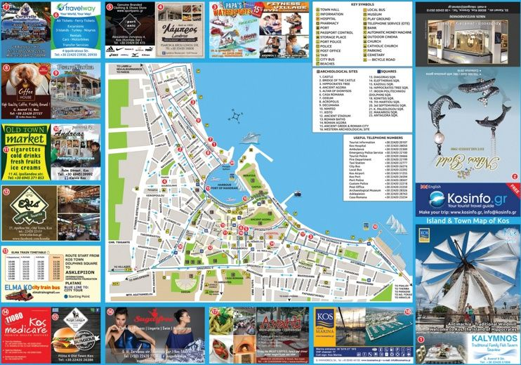 Kos City tourist attractions map Maps Pinterest Kos and City