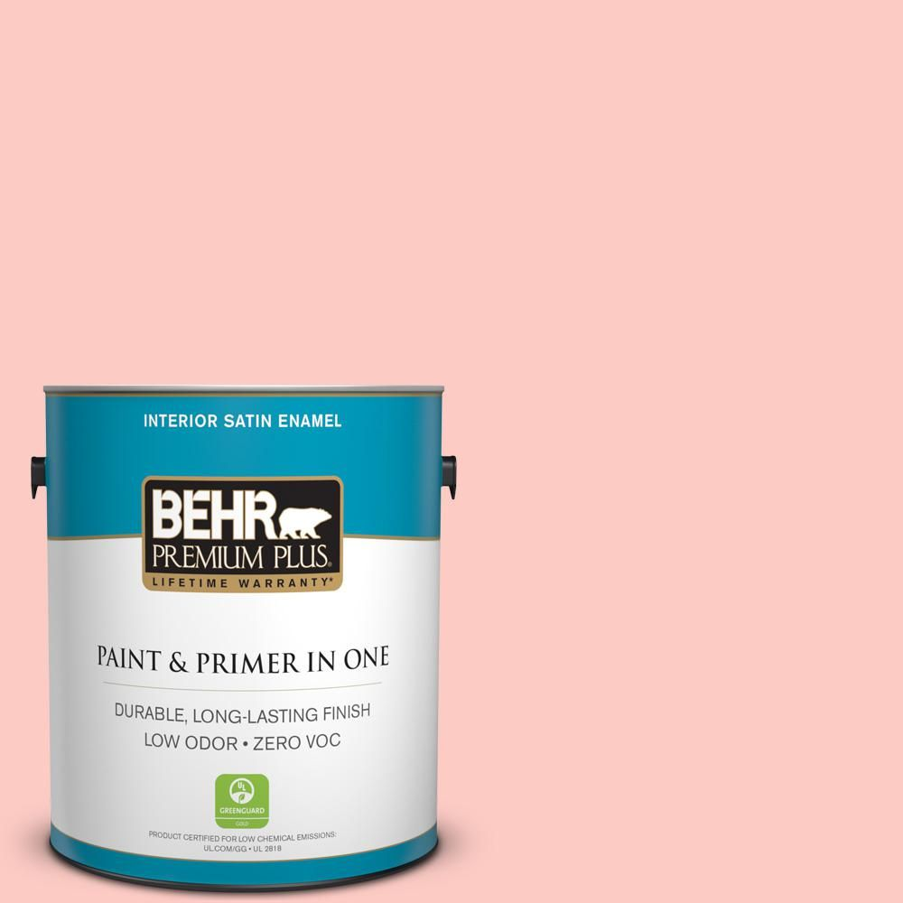 BEHR Premium Plus 1-gal. #170A-2 Strawberry Mousse Zero VOC Satin Enamel Interior Paint