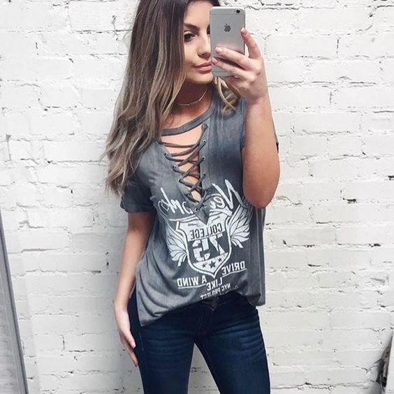 a9a9533ace T-Shirt com chocker Customizar Camisa Feminina