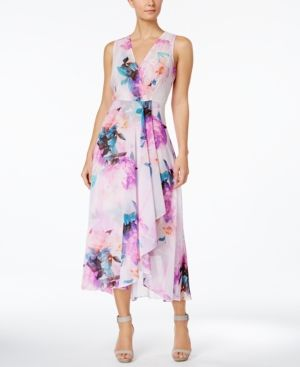 Calvin Klein Floral Print High Low Midi Dress Purple 10