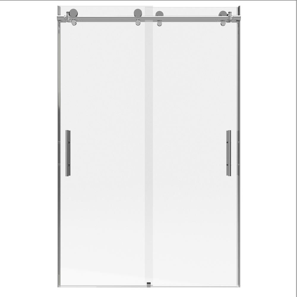 Holcam Distinctive Elite 45 In W X 71 375 In H Semi Frameless Hinged Shower Door And Inline Panel In Chrome Shower Doors Shower Enclosure Chrome Handles