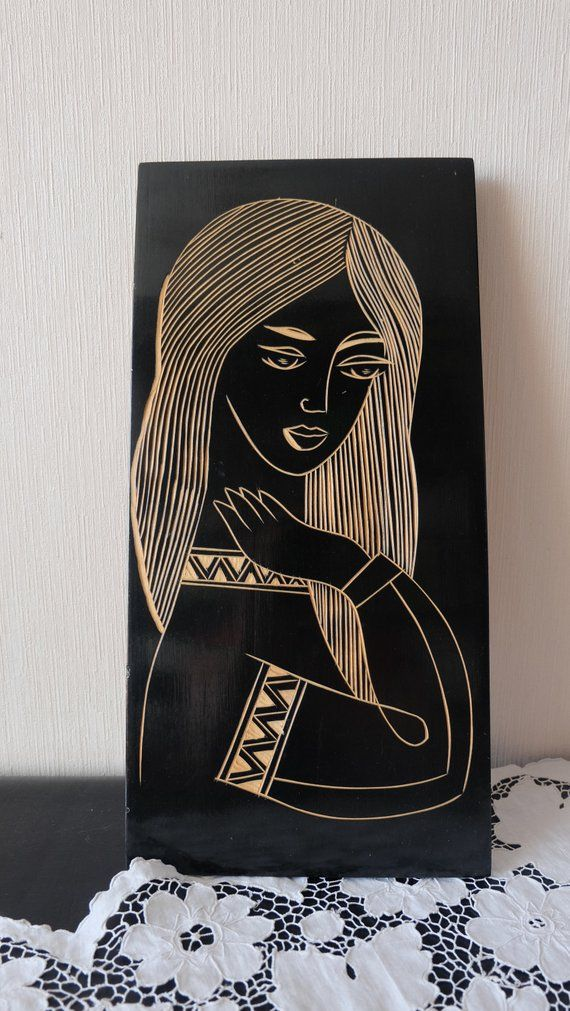 Soviet Wooden Wall Decor Vintage Wood Wall Art Beautiful Woman With