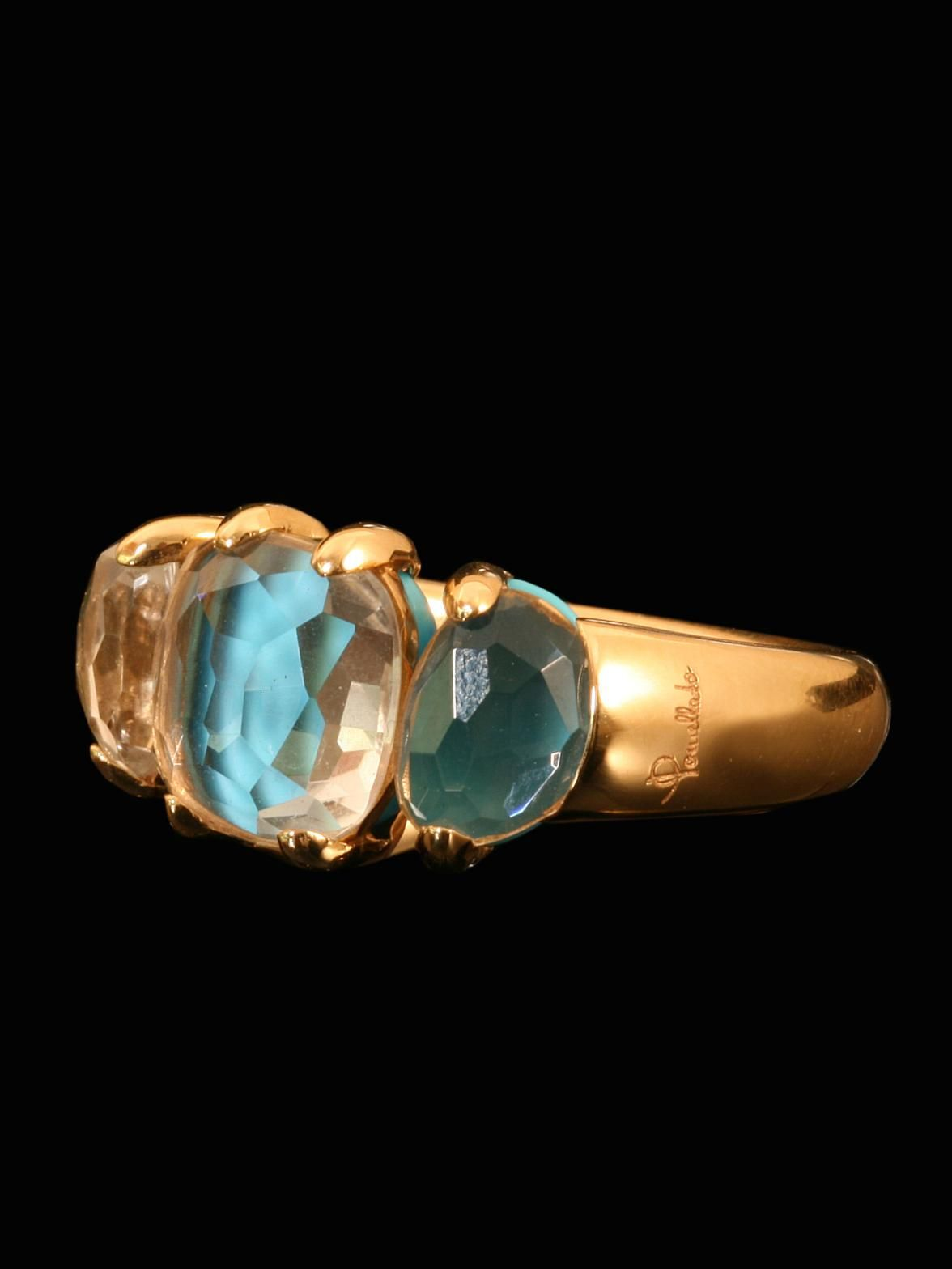 Pomellato 18KT Pink Gold Capri Turquoise and Rock Crystal Ring. Available at London Jewelers.