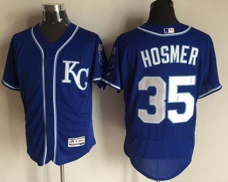 Kansas City Royals #35 Eric Hosmer Navy Blue KC 2016 Flexbase Majestic Baseball  Jersey