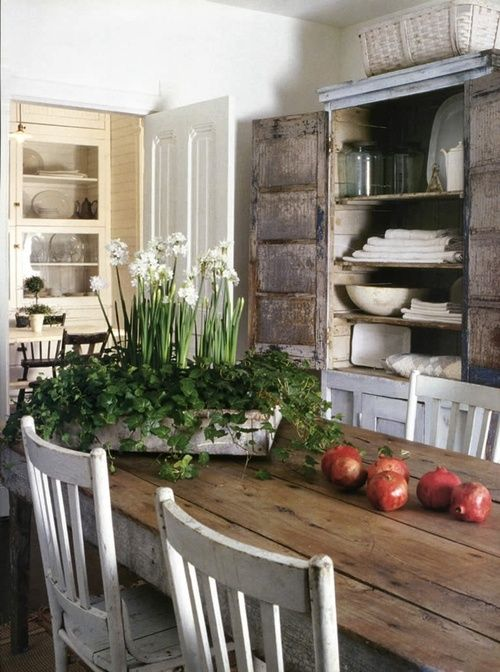 Rustic Country Dining Area, Antique Cupboard, Table/chairs