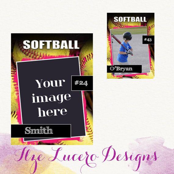 Psd Softball Trading Card Template Trading Card Template Card Template Softball
