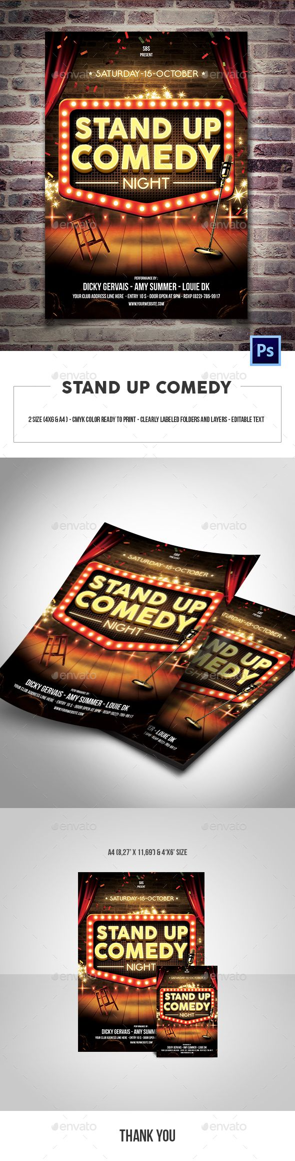 stand up comedy flyer template  u2014 psd template  u2022 only