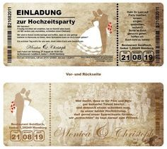 Toll Details Zu Einladungskarte N Hochzeit   Ticket Mit Abriss Coupon