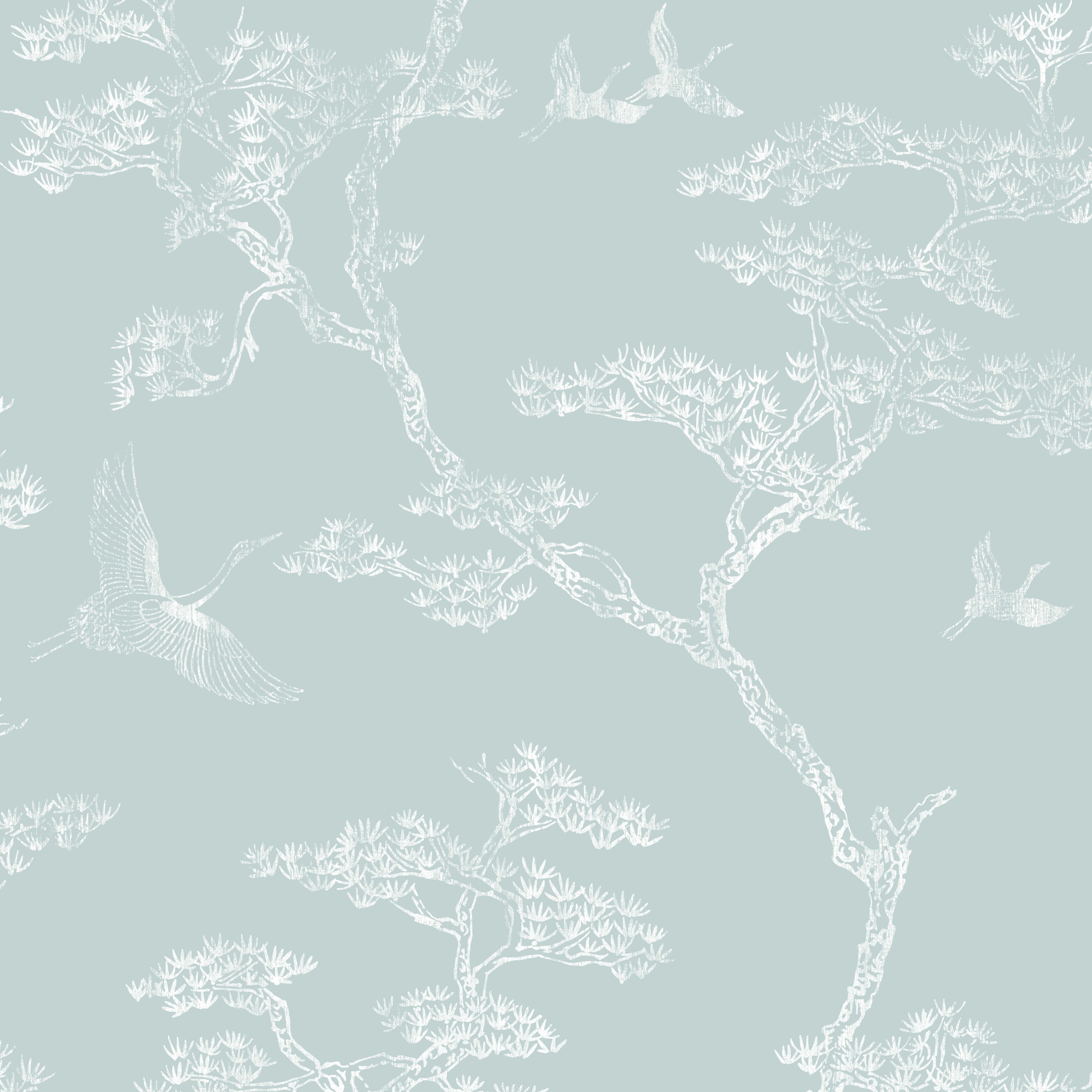 Richmond Duck Egg & White Trees & Birds Metallic Wallpaper