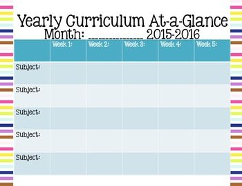 preschool curriculum map template - keep track of the overall big picture with this monthly