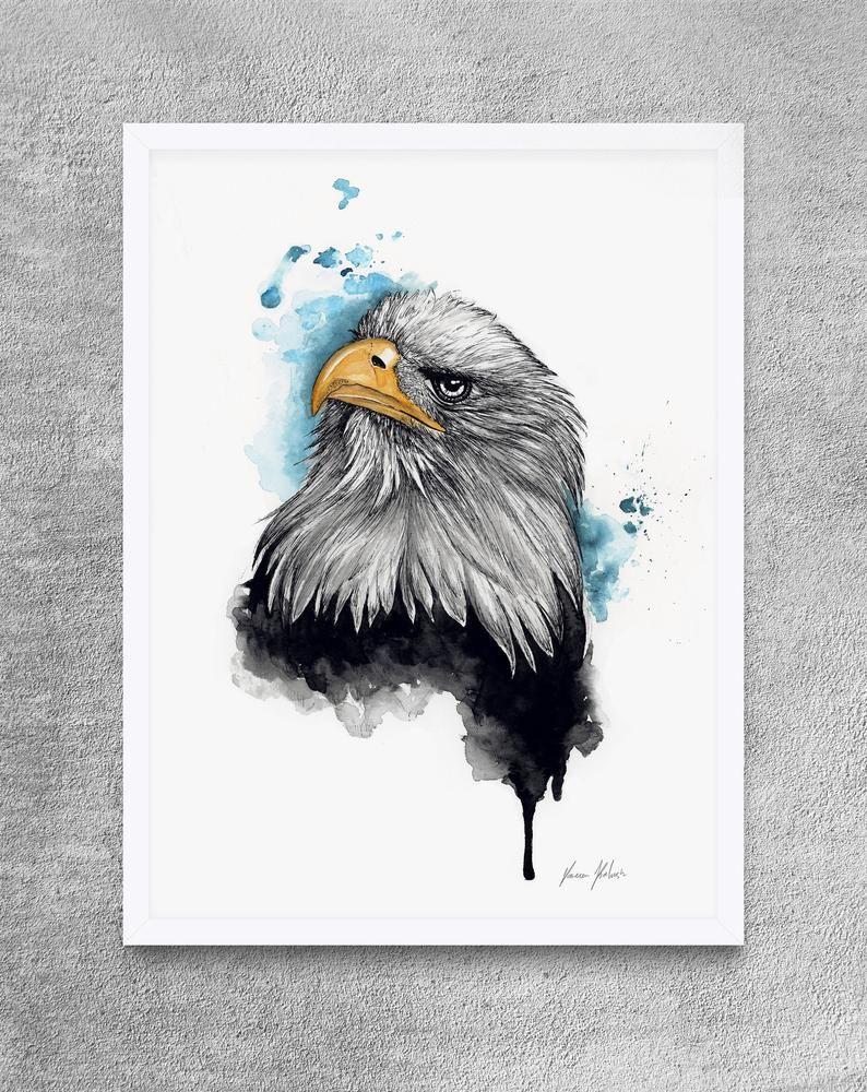 Unique Bald Eagle Wall Art For Home Decor Modern And Minimalist Animal Wall Hanging Eagle Watercolor Painting Eagle Art Print Gift Eagle Wall Art Eagle Art Art Prints