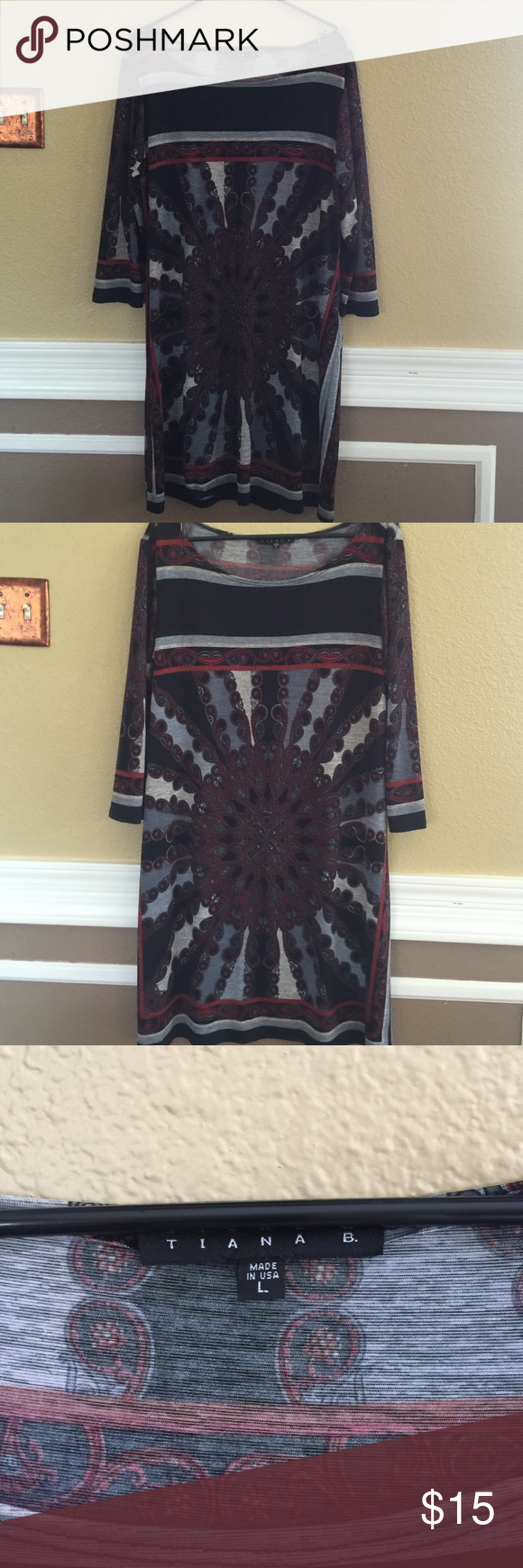 Patterned dress Nylon slinky dress Dresses Midi
