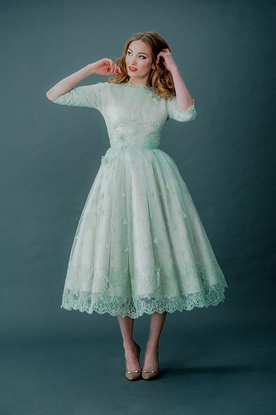 Vintage style bride with midi wedding dress in pastel green | Green ...