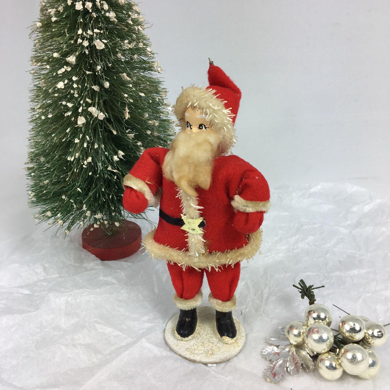 """Vintage Santa~Belsnickle 1950s Japan 6"""" felt chenille cardboard Christmas decor from MilkweedVintageHome by MilkweedVintageHome on Etsy https://www.etsy.com/listing/477685636/vintage-santabelsnickle-1950s-japan-6"""