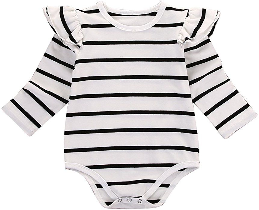 Amazon.com  Infant Baby Girls Long Sleeve Bodysuit Romper Ruffle Fly Sleeve  Triangle Cotton Jumpsuit (70(3-6M) 227a94236