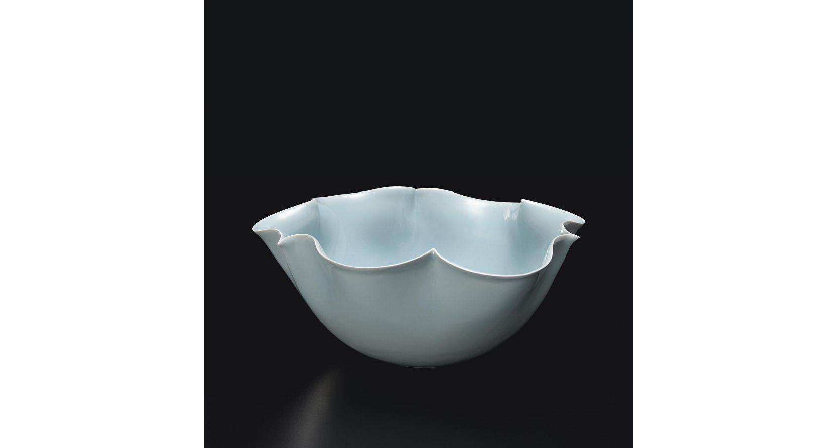 SHINOBU KAWASE 'Soro' bowl, 2010 Porcelain, celadon glaze. 5 1/2 in (14 cm) high, 12 7/8 in (32.8 cm) wide With original signed wooden box.