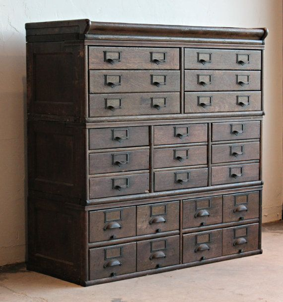 Amazing Antique Wooden 23 Drawer Library Card Catalog Cabinet ...