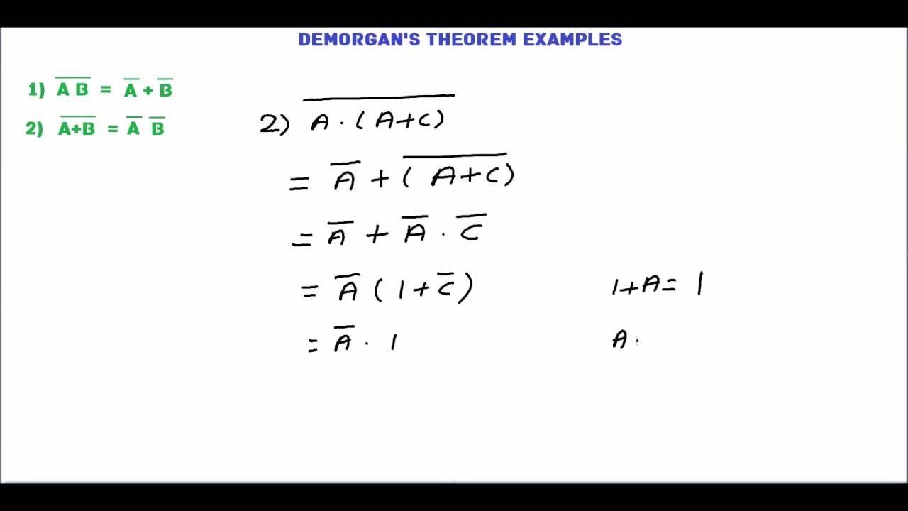 Demorgan S Theorem Examples Boolean Algebra Theorems Algebra Example