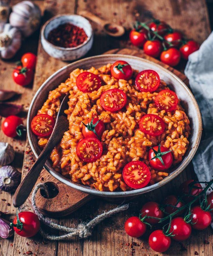 Cremiges veganes Tomaten-Risotto #veganerezeptemittag