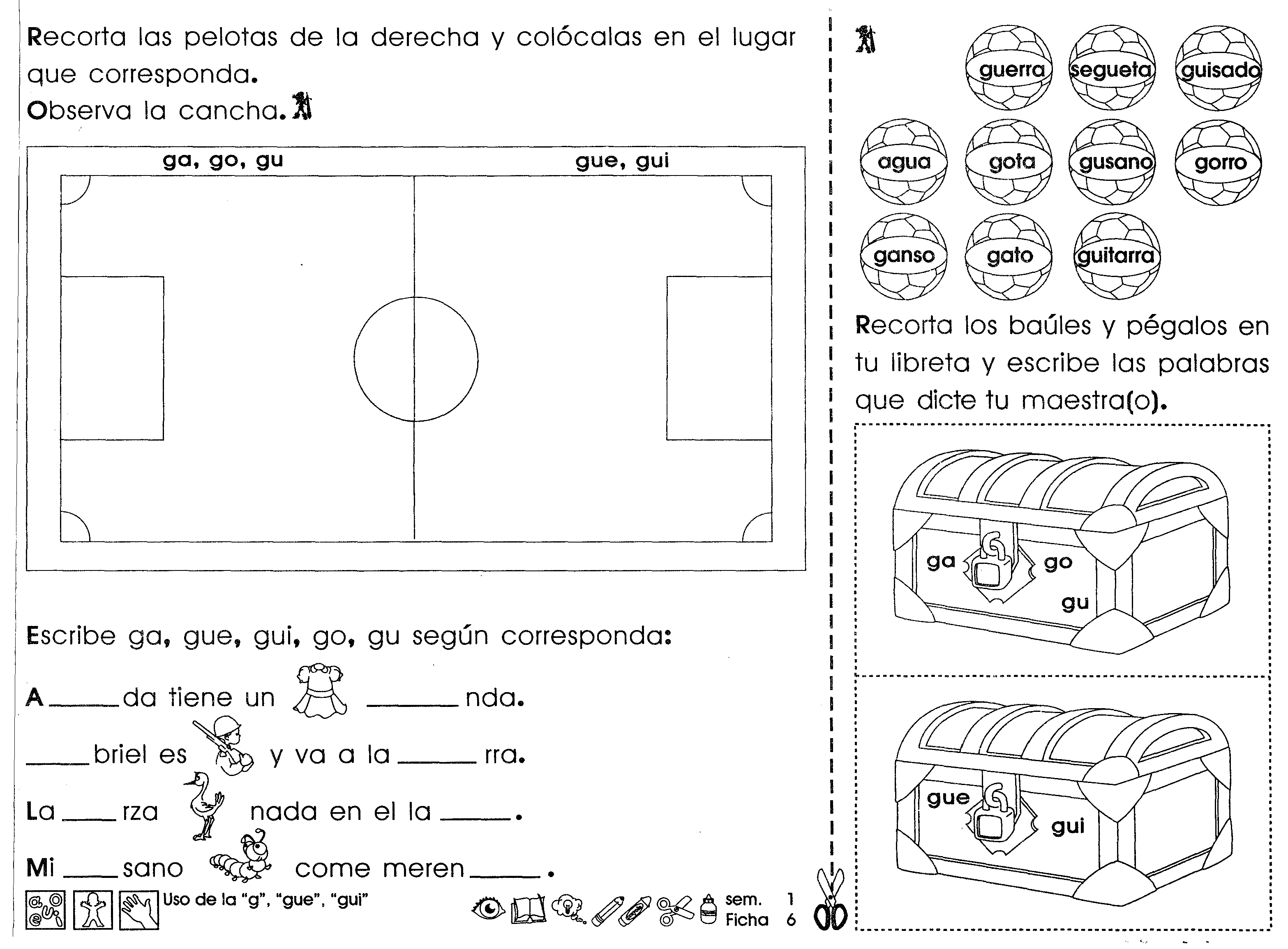 Ejercicios Para Practicar El Uso De La G Gue Gui Con