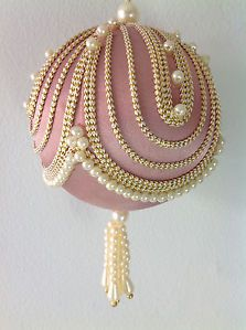 8 Vintage Victorian Christmas Tree Ornaments Pearls Satin Beaded ...