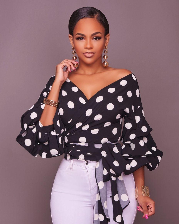 03fd3c1646a5d Lantern Sleeve Polka Dots Chiffon Deep-V Sexy Blouses Colors  Black   White  Sizes