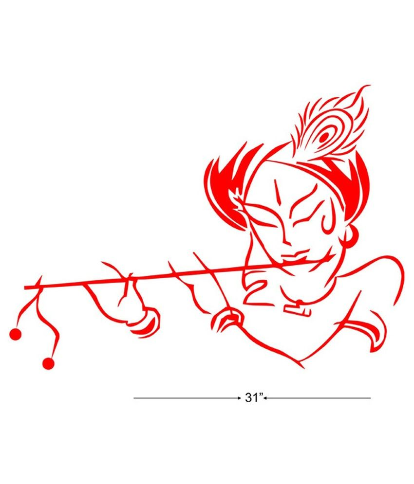 Wall Art Stickers Vector : Studio briana krishna with flute line vector art wall
