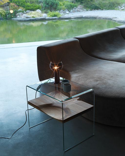 toyo ito / ripples side table in glass + composite of varied, layered wood species