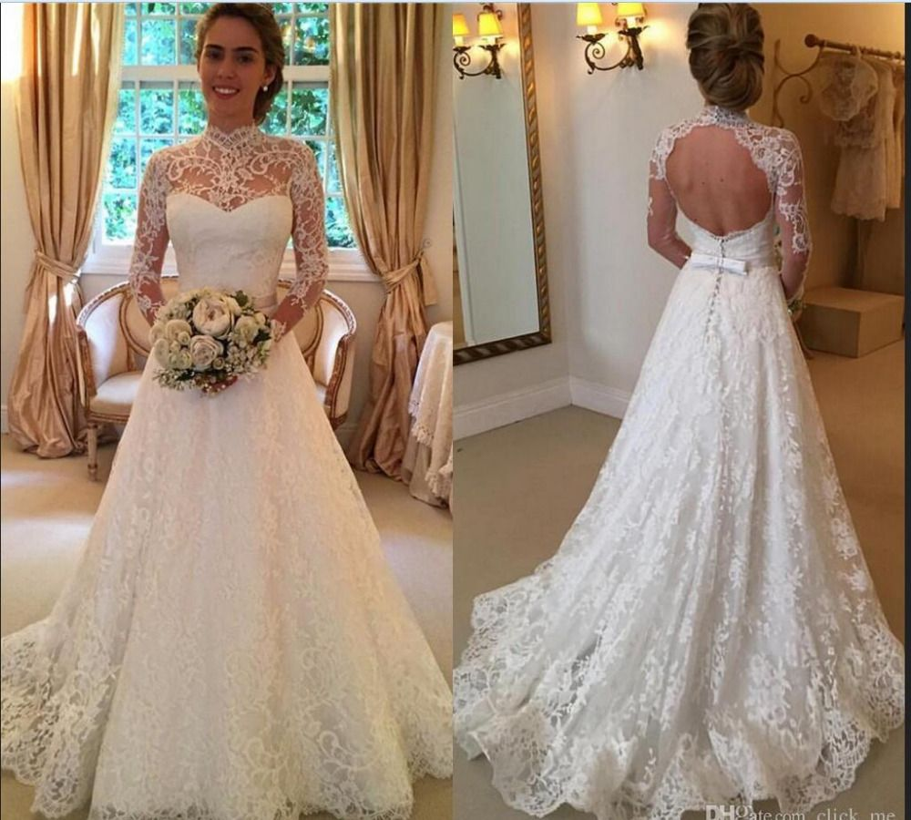 Click to buy ucuc vintage lace wedding dresses high neck long