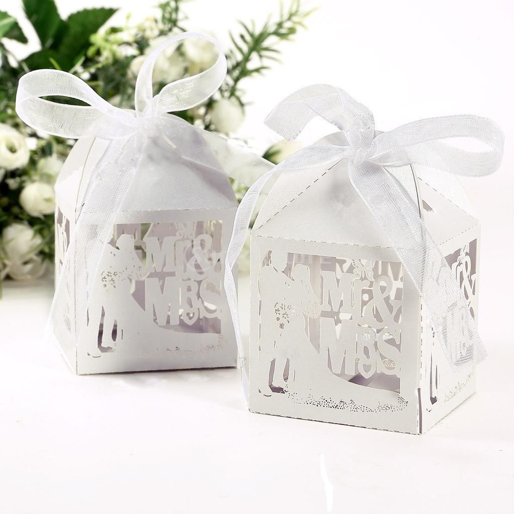50pcs Bride Groom Laser Cut Gift Candy Boxes with Ribbon Wedding ...