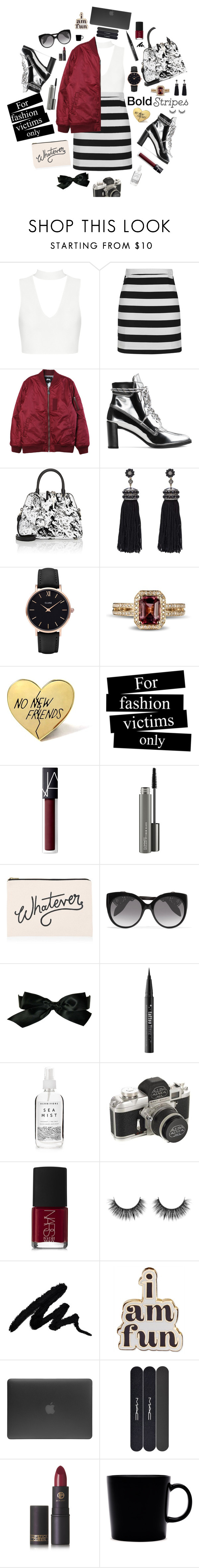 """""""Bold Stripes (Contest)"""" by jafashions ❤ liked on Polyvore featuring Topshop, Stussy, Stuart Weitzman, Maison Margiela, Nush, CLUSE, PINTRILL, NARS Cosmetics, MAC Cosmetics and ALPHABET BAGS"""