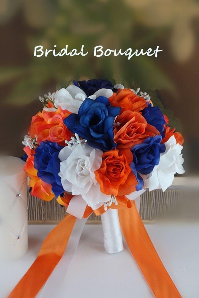 Bridal Bouquet Royal Blue White Orange Wedding Silk Rose Baby Breath Ebay