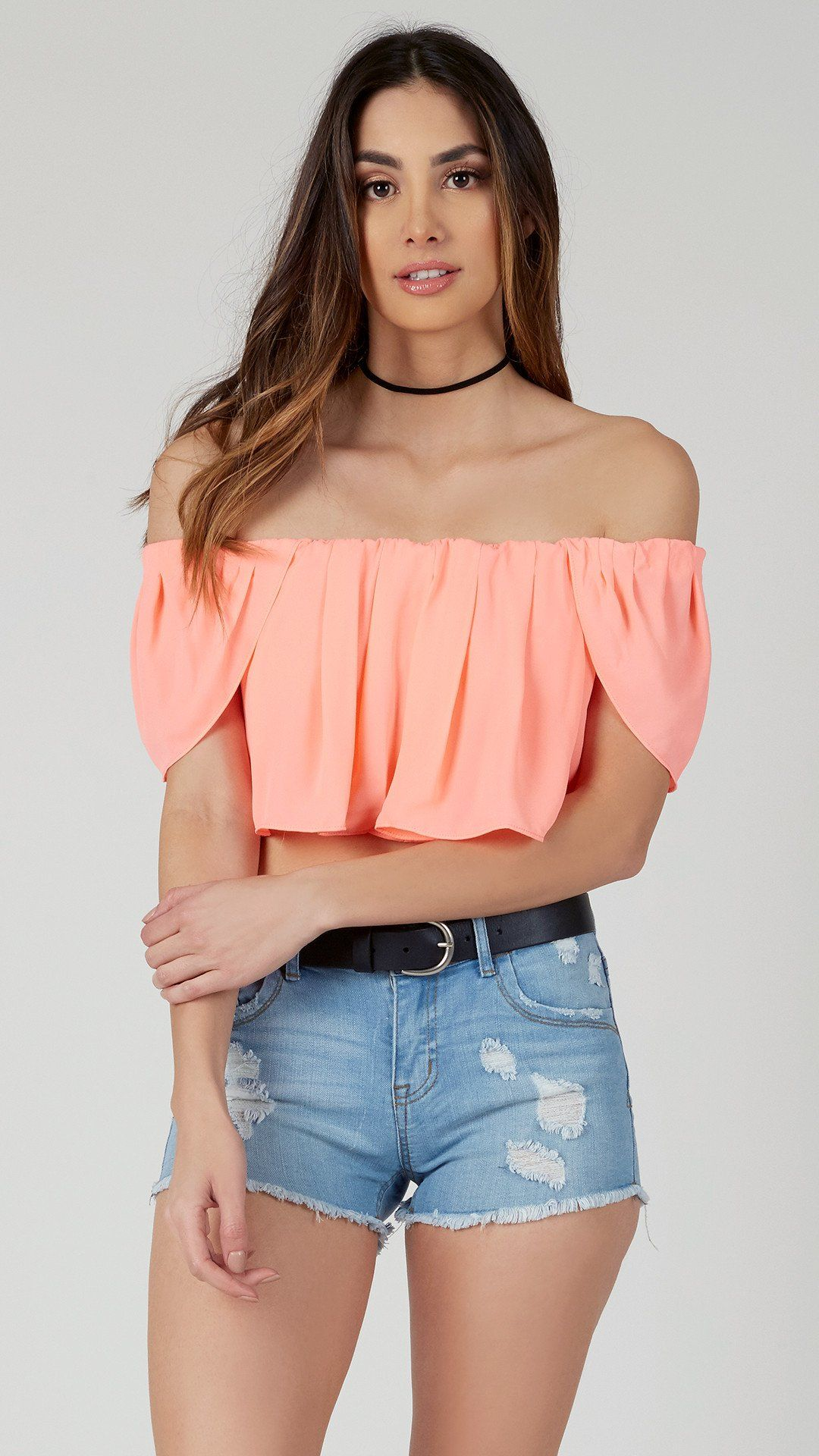 f15ed40ad54f37 Off Shoulder Chiffon Crop Top in 2019