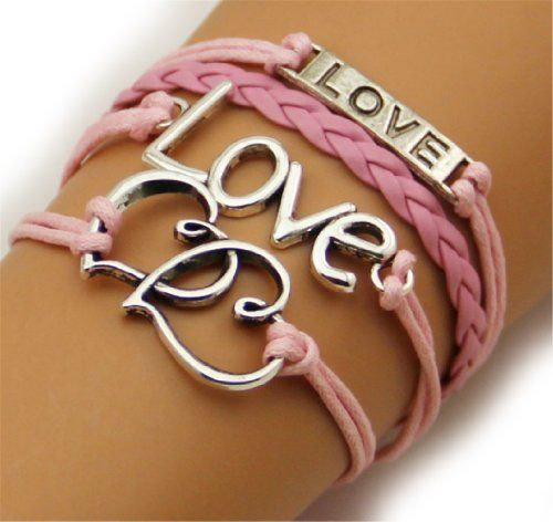 Fashion Lady Retro Love,love & Double Hearts Bracelet in Gold Color - Pink and White Wax Cords and Leather Braid Strands Bracelet Suede Rope Bracelet Gift Whatland,http://www.amazon.com/dp/B00J2194VY/ref=cm_sw_r_pi_dp_s-Rktb0SPPXM233G