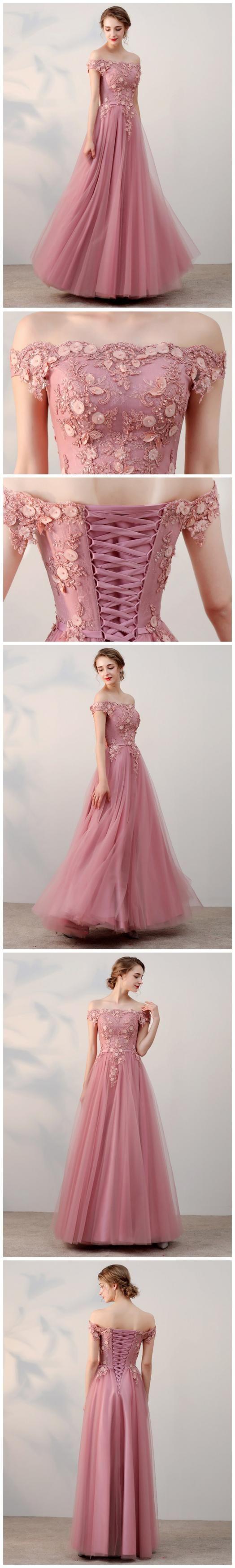 Chic aline offtheshoulder pink applique tulle modest long prom dr