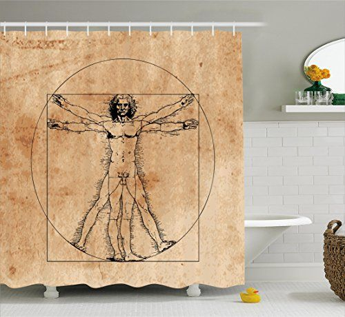 Human Anatomy Shower Curtain By Ambesonne Medieval Vitruvian Man Crosshatching Famous Italian Painting Renaissance Body